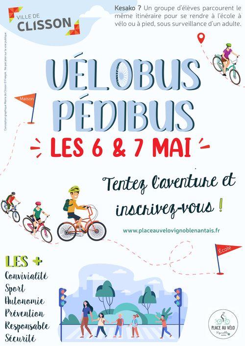 affiche lancement velobus pedibus clisson